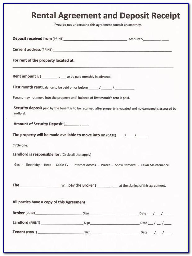 Rental Agreement Form Template Free