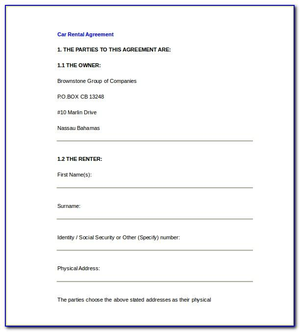 Rental Agreement Template South Africa Pdf