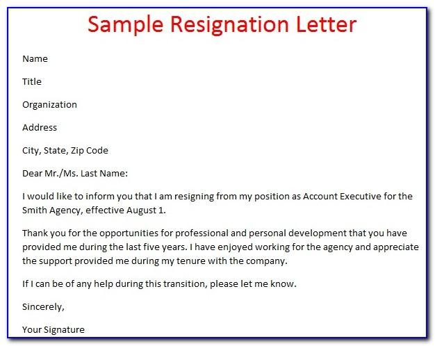 Resignation Letter Template Uk Pdf