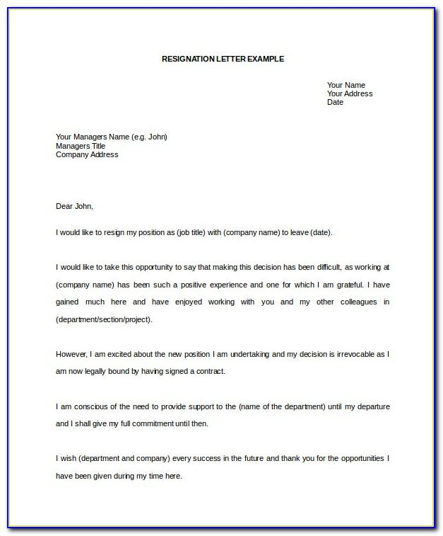 Resignation Letter Template Word Australia