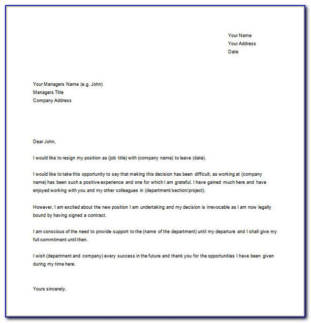 Resignation Letter Template Word Free