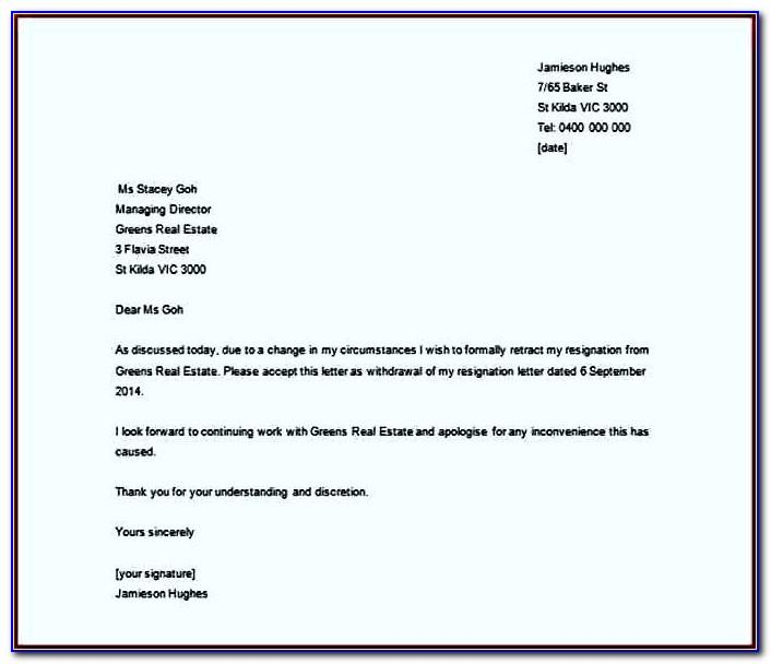 Resignation Letter Template Word South Africa