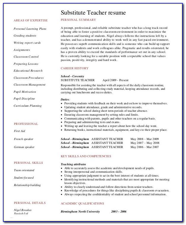 Resume Samples For Teachers With No Experience In India