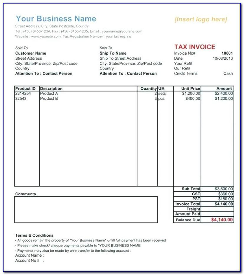 Sales Tax Invoice Format In Word