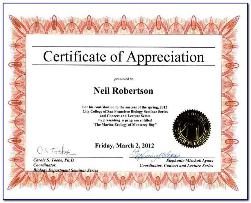 Sample Certificate Of Appreciation For Speaker