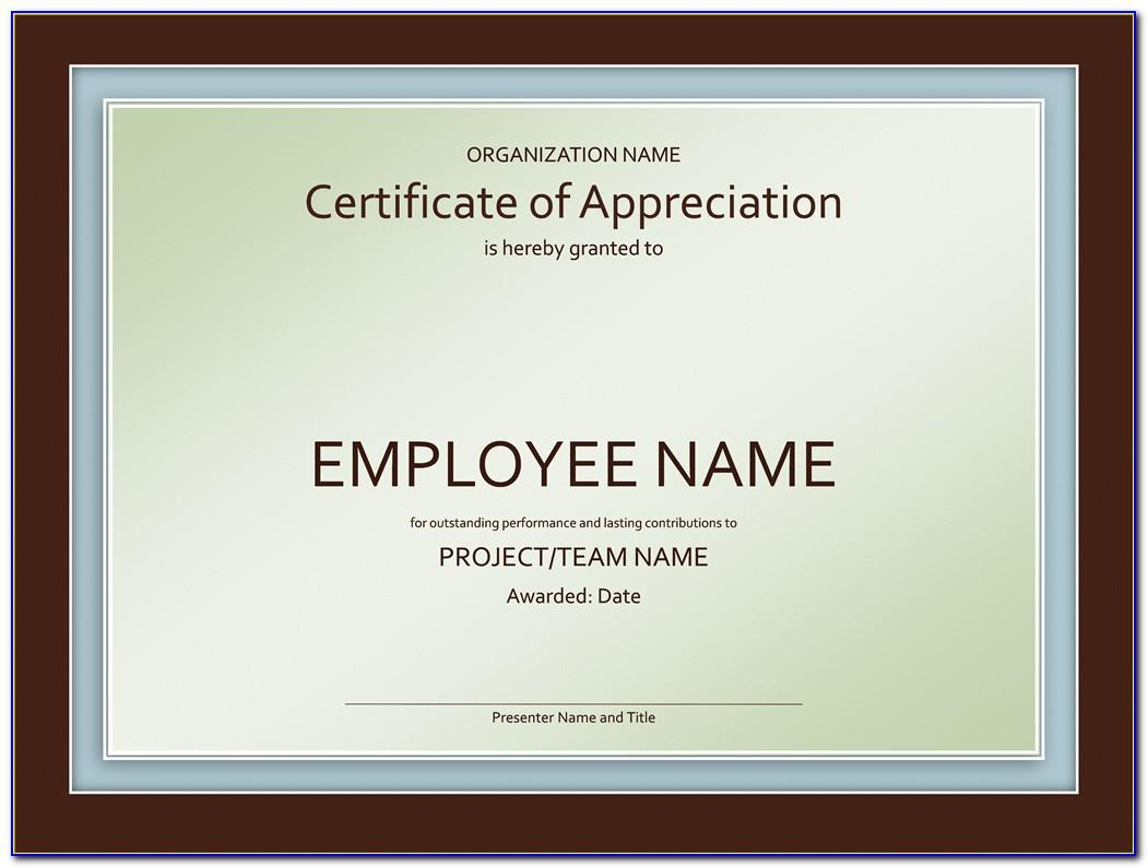 Sample Certificate Of Appreciation For Staff