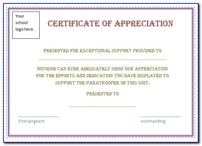 Sample Certificate Of Appreciation For Volunteer Service