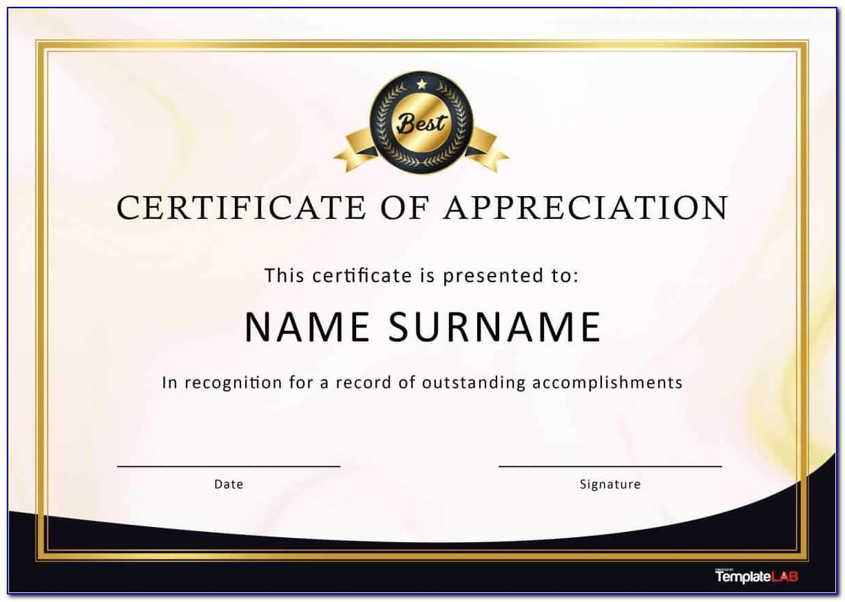 Sample Certificate Of Appreciation For Volunteers