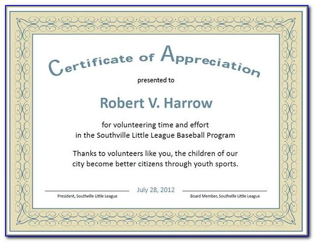 Sample Certificate Of Appreciation Free Download