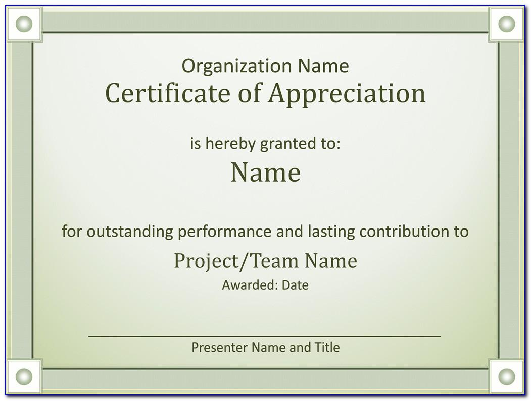 Sample Certificate Of Appreciation Ppt