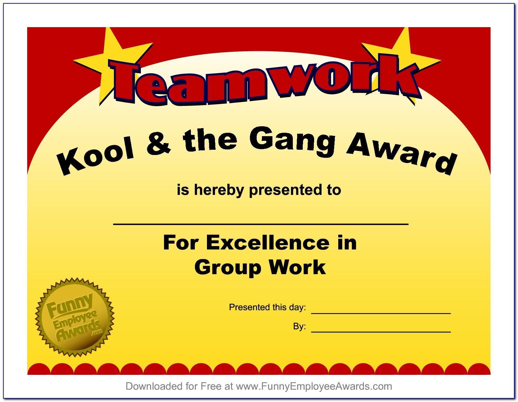 Sample Certificate Of Awards