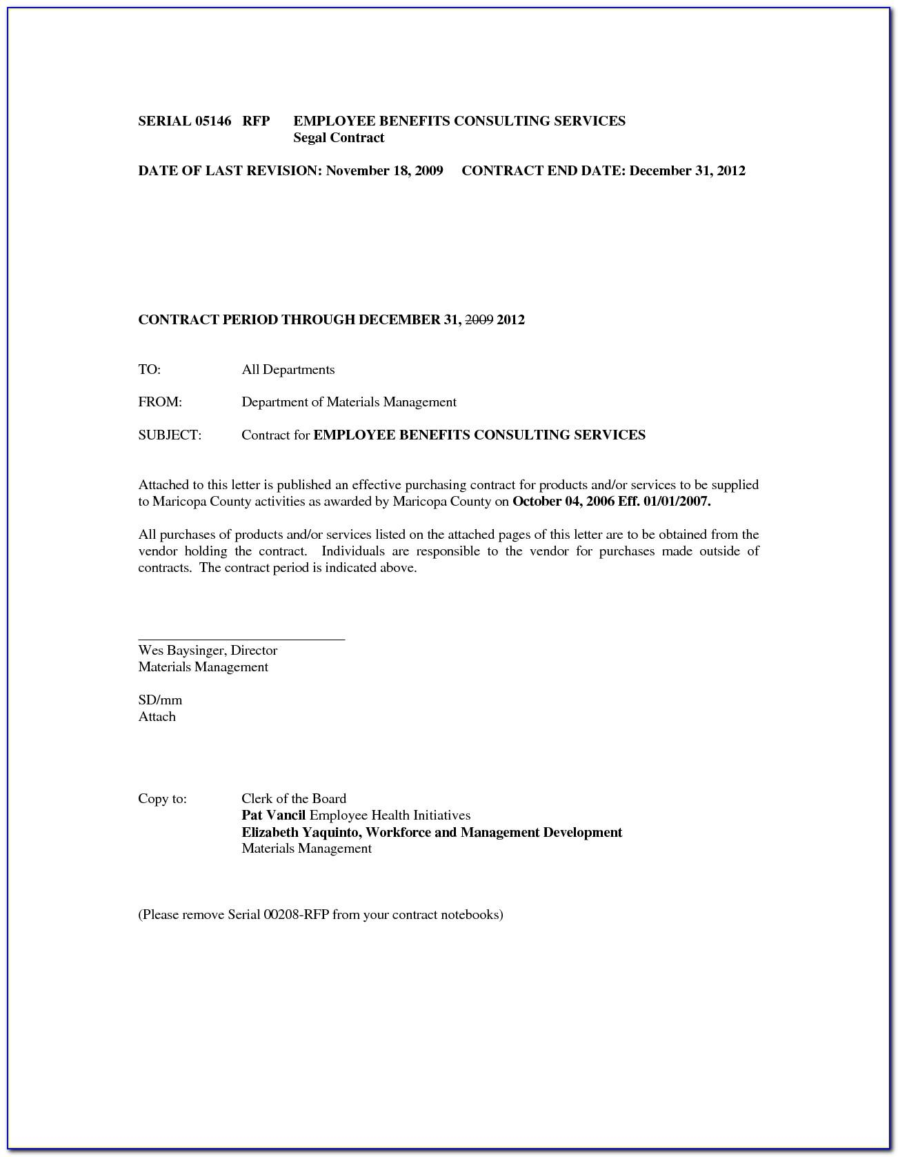Sample End Of Employment Contract Letter