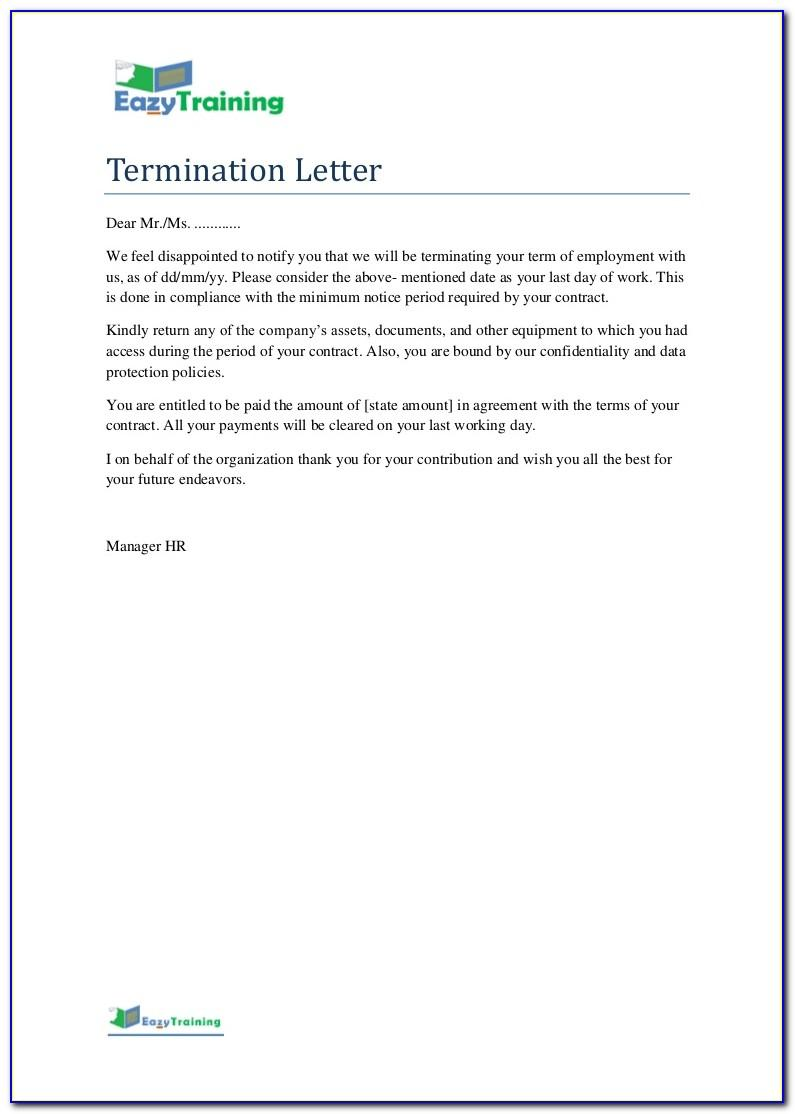 Sample End Of Employment Contract Notification Letter