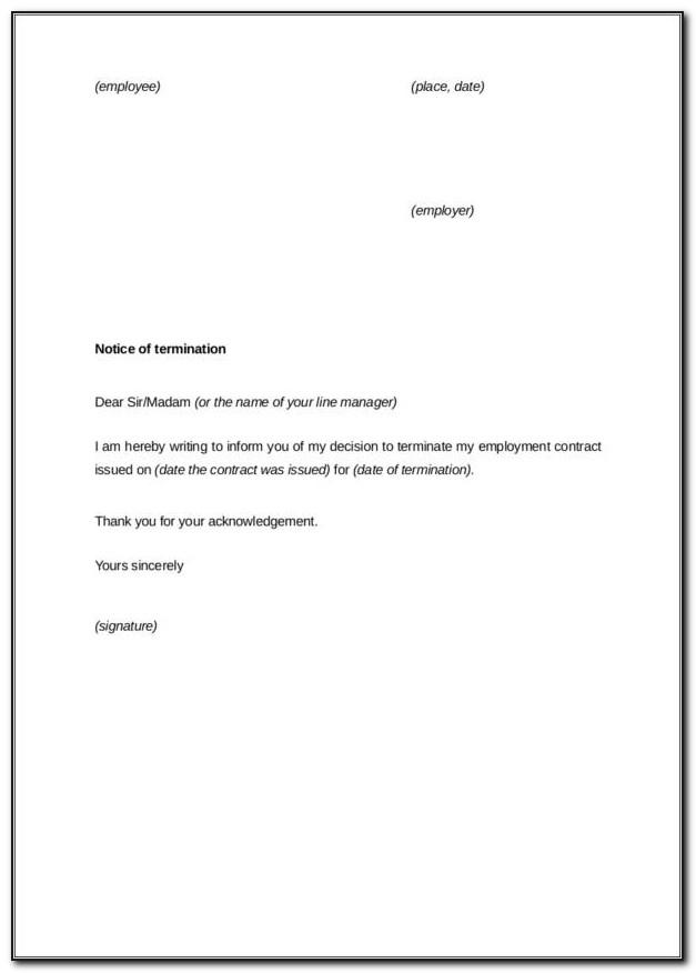 Sample End Of Employment Letter