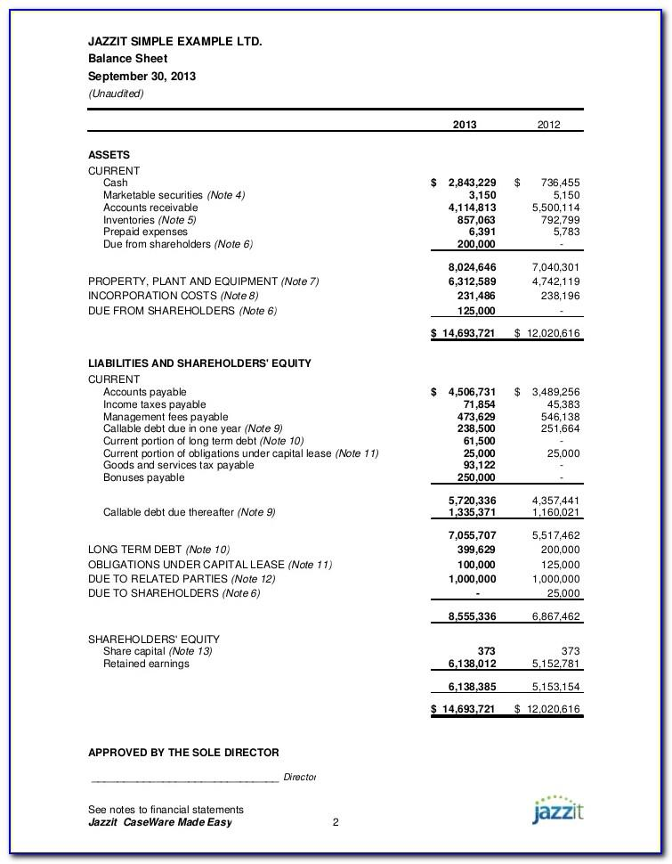 Sample Family Trust Financial Statements