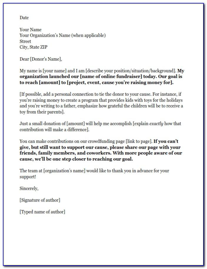 Sample Fundraising Donation Letter Template