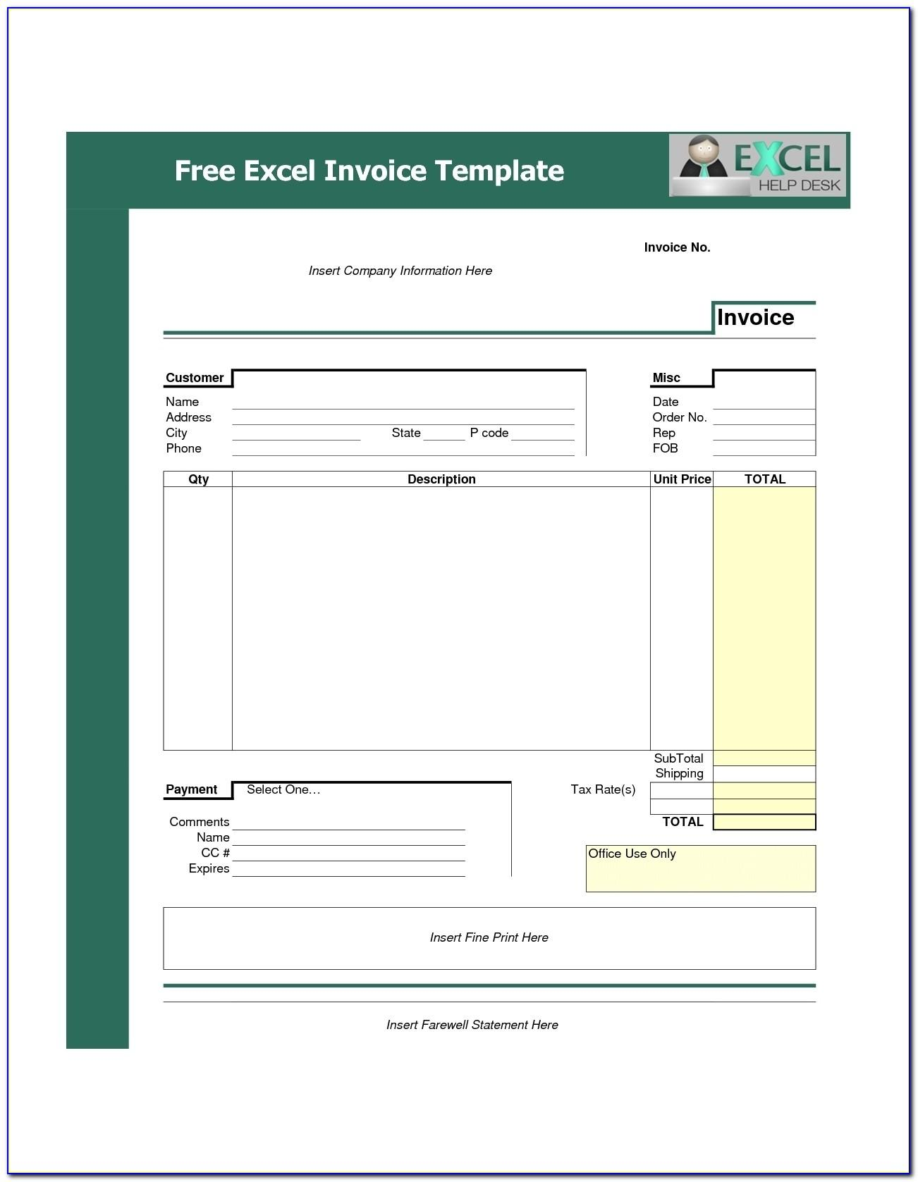 Sample Invoice Template Free Excel