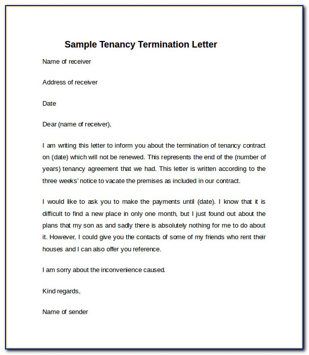 Sample Letter For Notice To Vacate From Landlord To Tenant