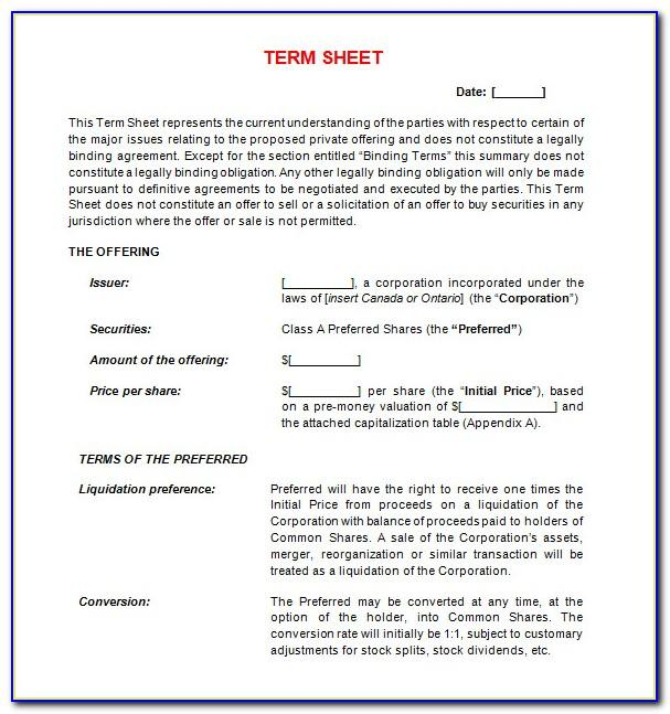 Sample Loan Term Sheet Template