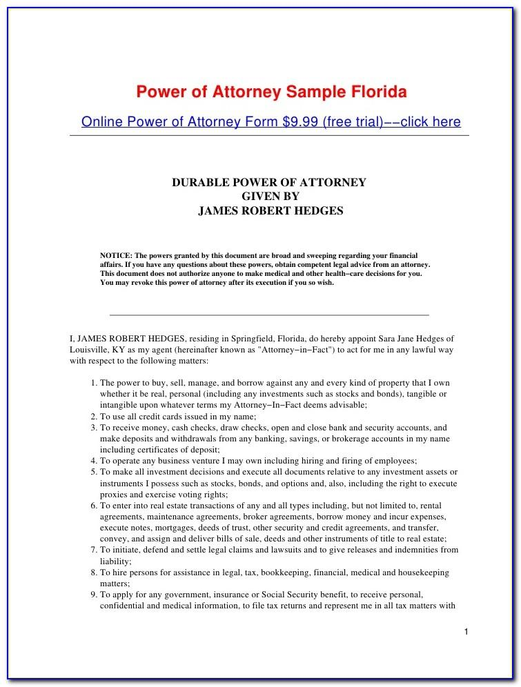 Sample Power Of Attorney Florida