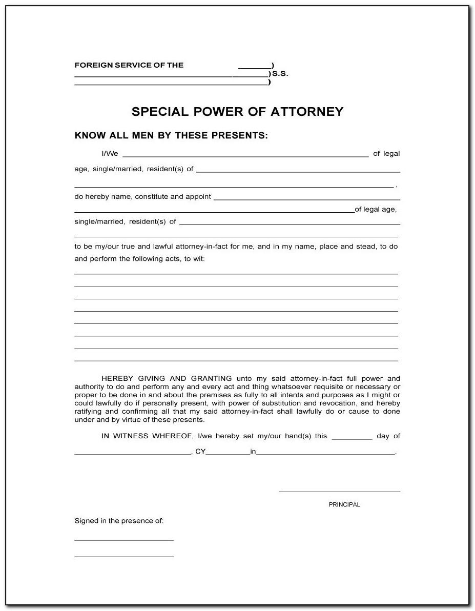 Sample Power Of Attorney For Real Estate Transactions