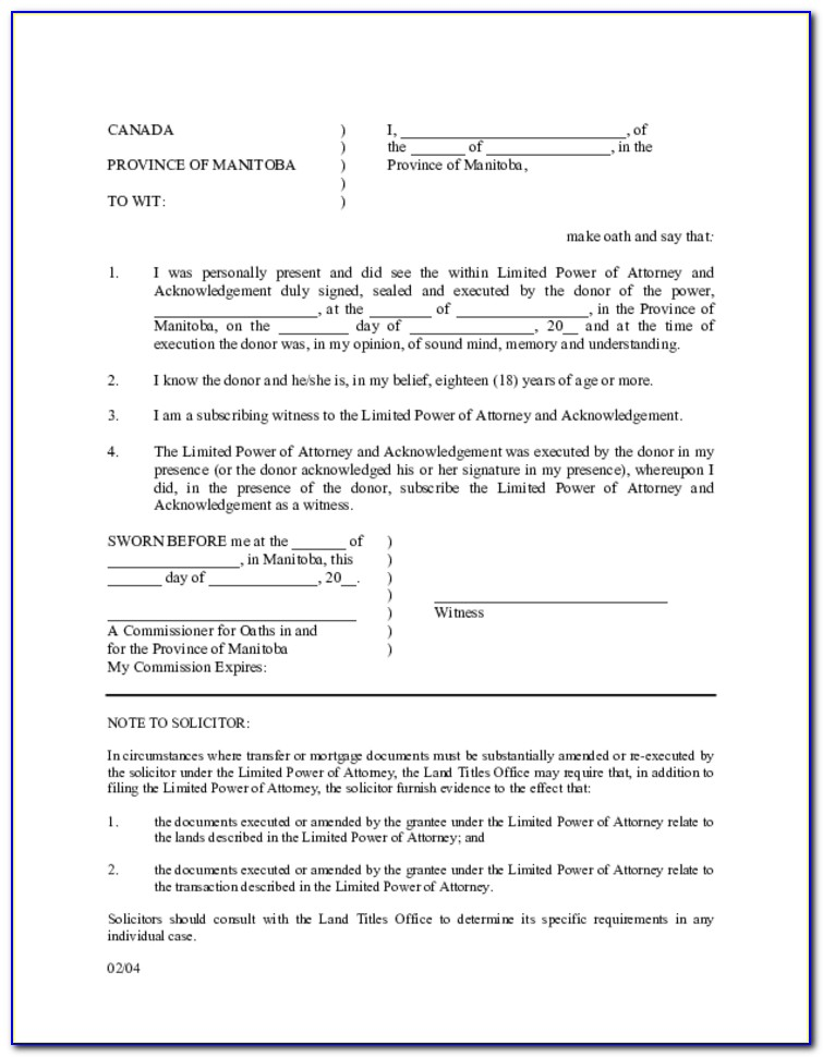 Sample Power Of Attorney Form Canada