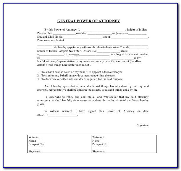 Sample Power Of Attorney Form India