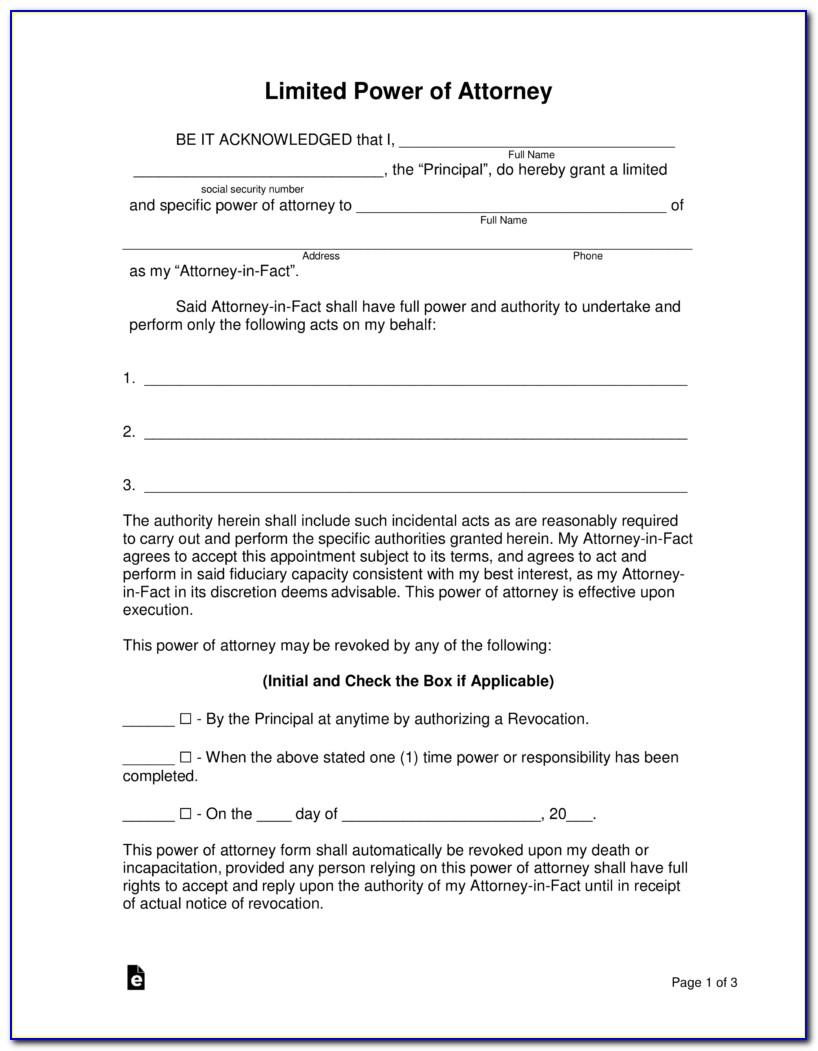 Sample Power Of Attorney Forms Free