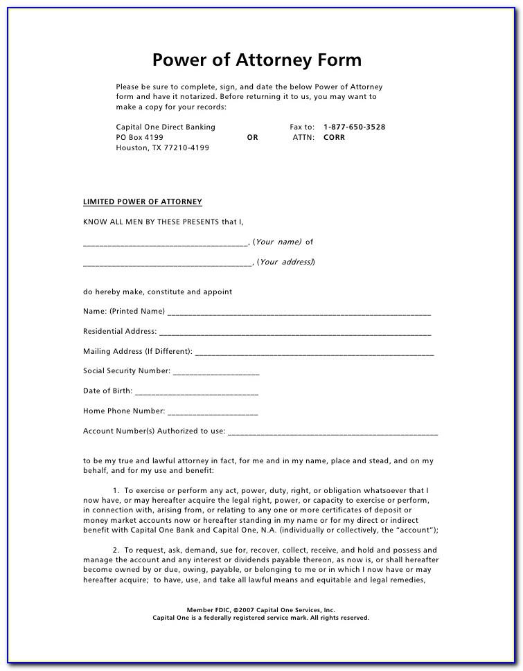 Sample Power Of Attorney Letter For Business