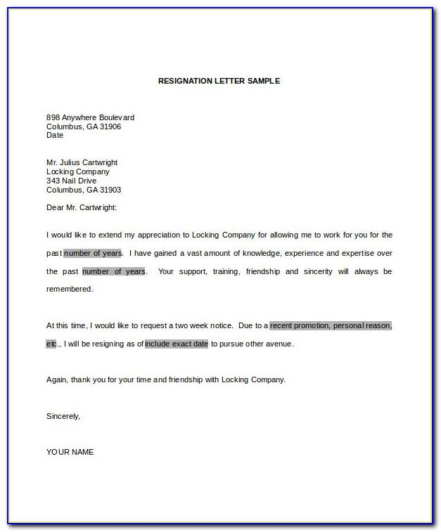Sample Resignation Letter Template Word