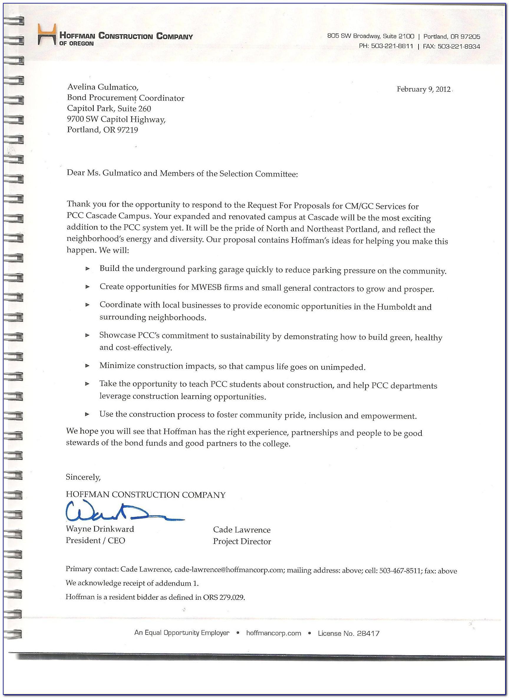 Sample Rfp Response Executive Summary