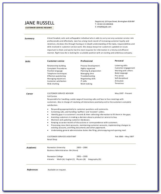 Sample Summary For Customer Service Resume