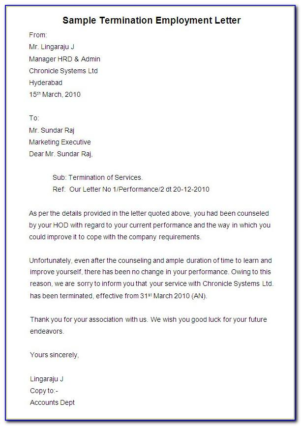 Sample Termination Of Employment Letter To Employer