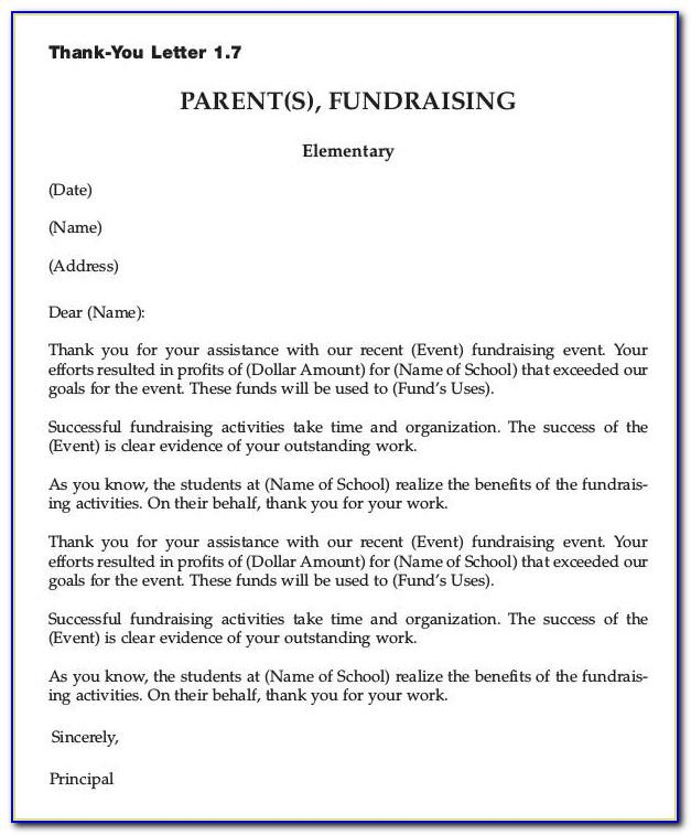 Sample Thank You Letter For Fundraising Donations