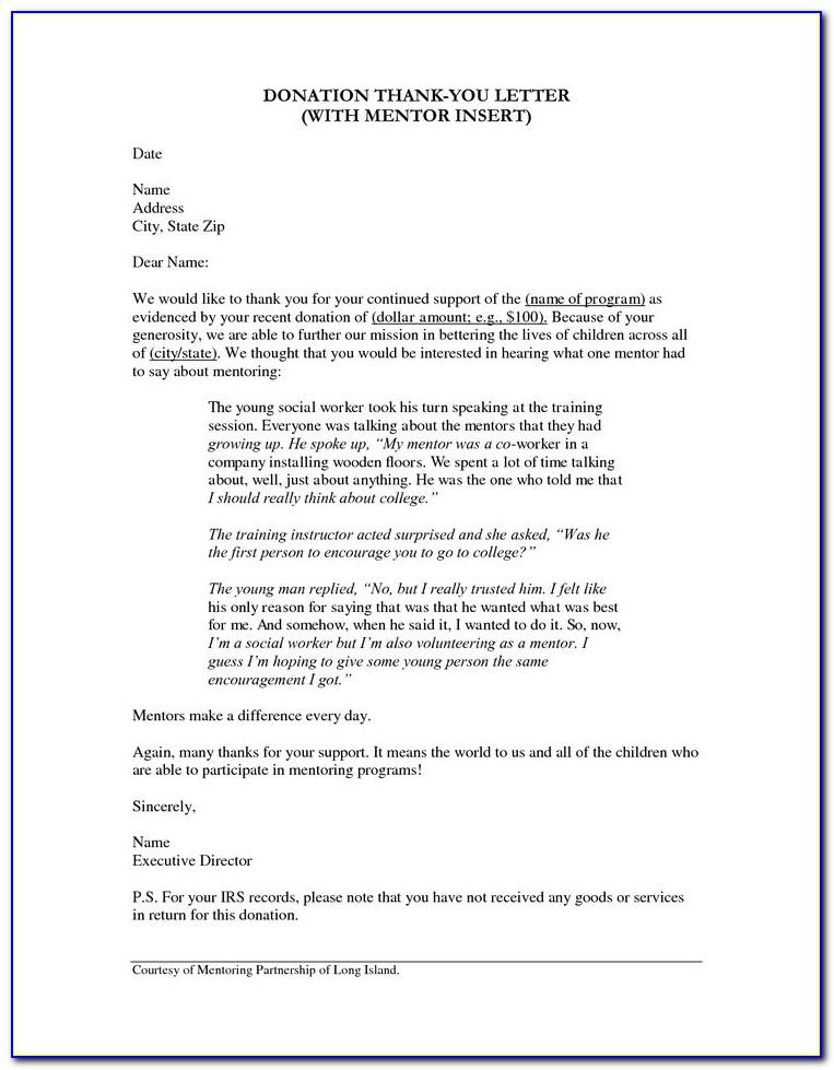 Sample Thank You Letter For Fundraising Support