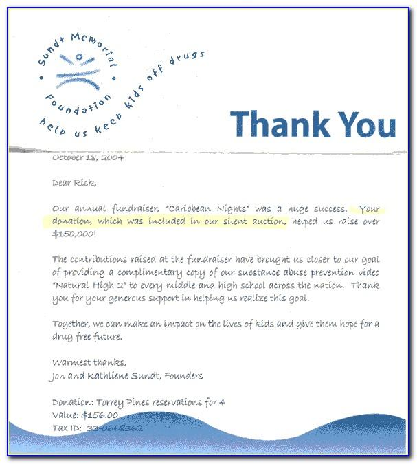 Sample Thank You Letter For Memorial Donation To Church