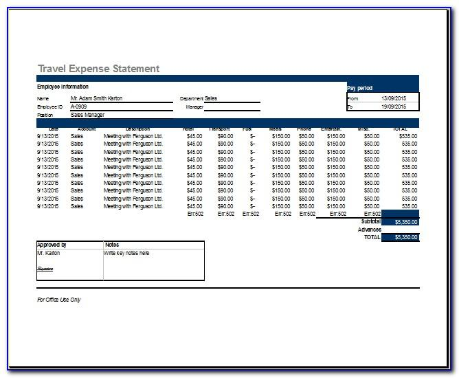 Sample Travel Expense Reimbursement Form
