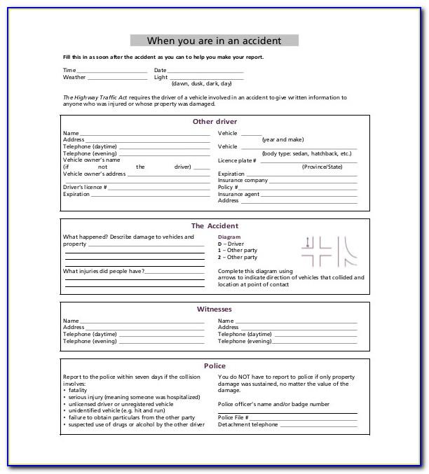 Sample Vehicle Incident Report Form