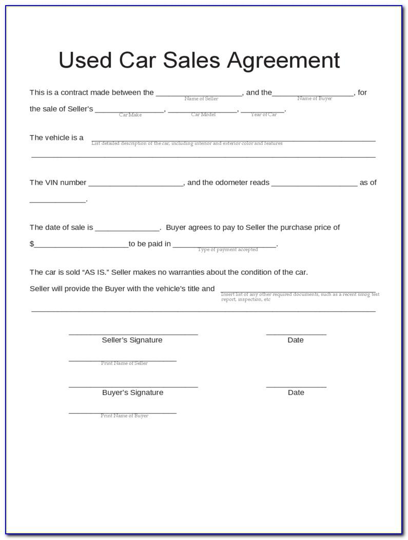 Selling Used Car Contract Form