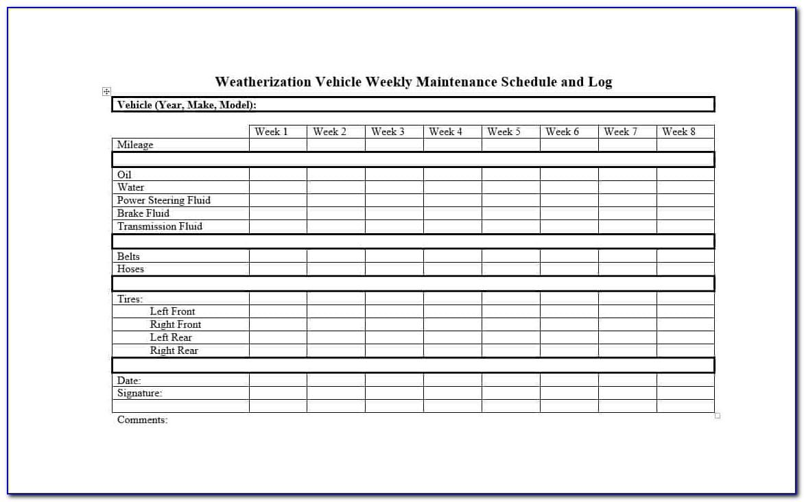 Semi Truck Maintenance Schedule Form