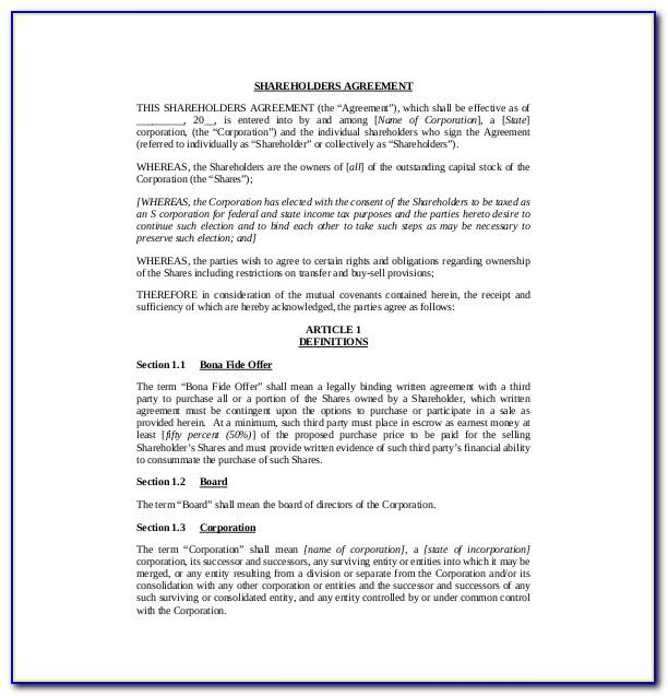 Shareholders Agreement Template Australia Free