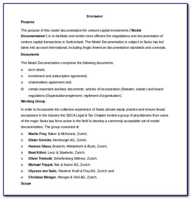 Shareholders Agreement Template Free Download Nz