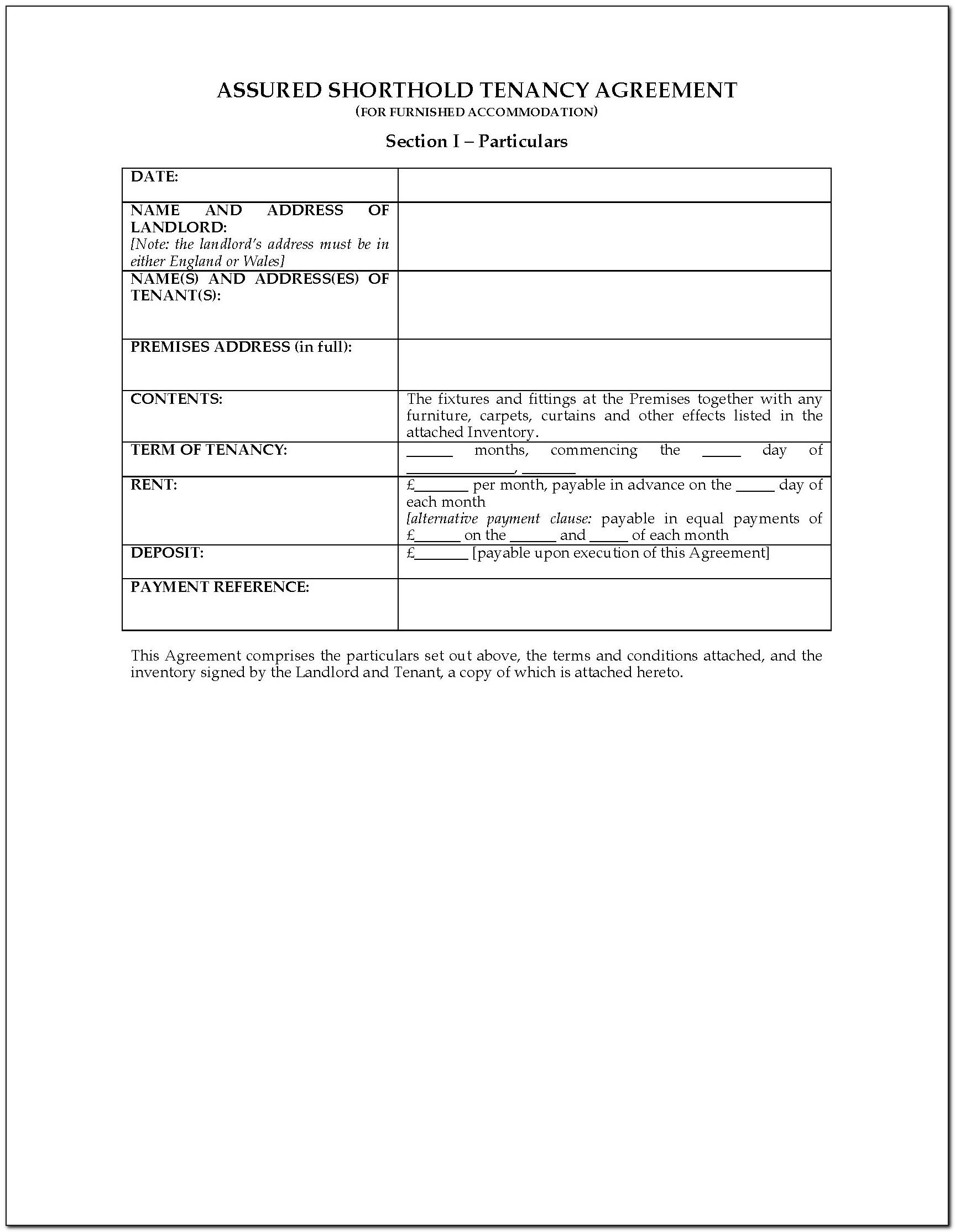 Short Assured Tenancy Agreement Template Scotland Free