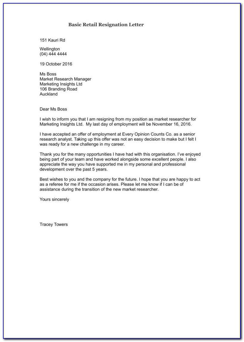 Simple Resignation Letter Template Nz