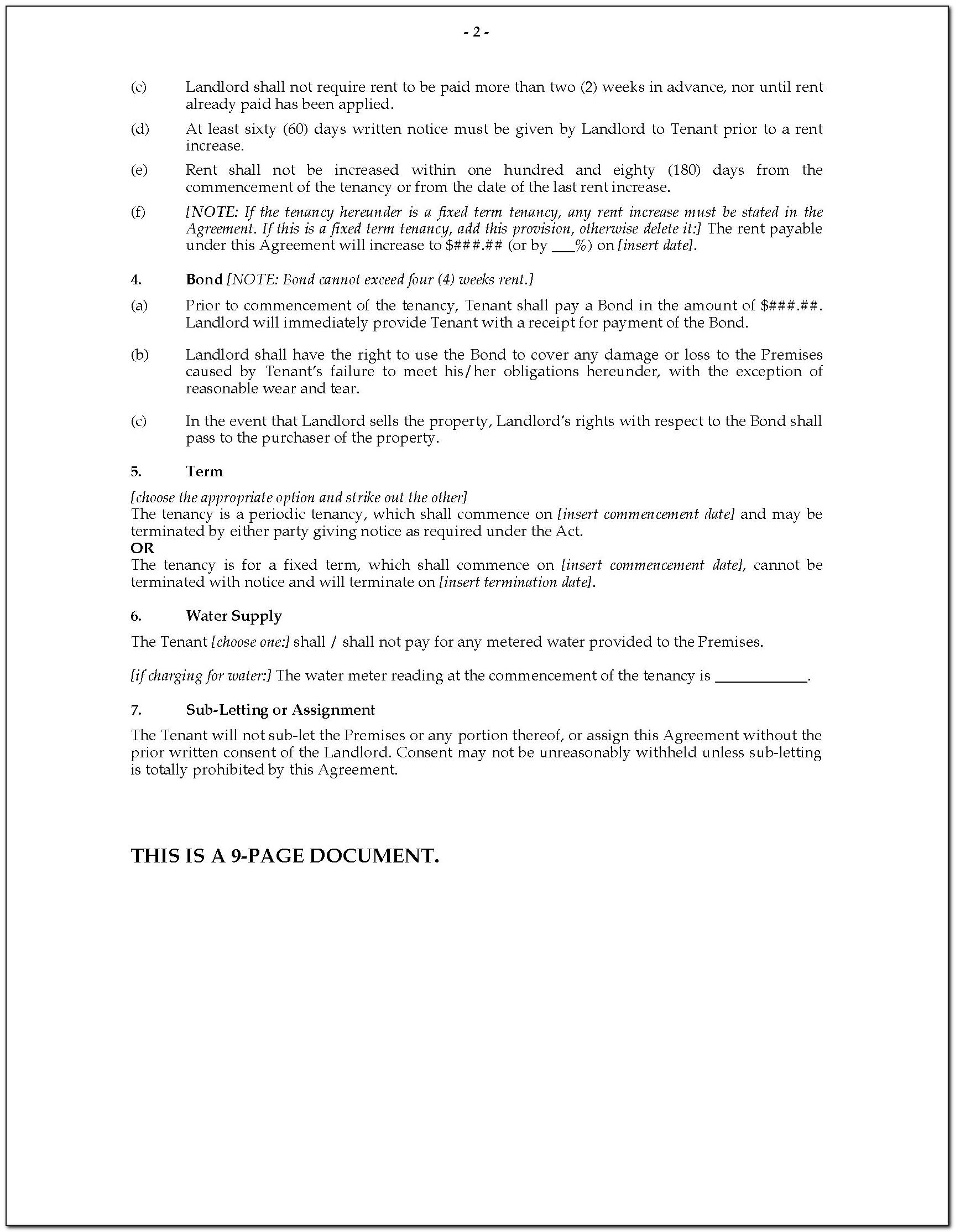 Simple Tenancy Agreement Sample Nz