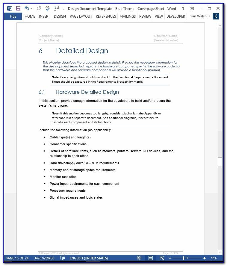 Software Functional Design Specification Template