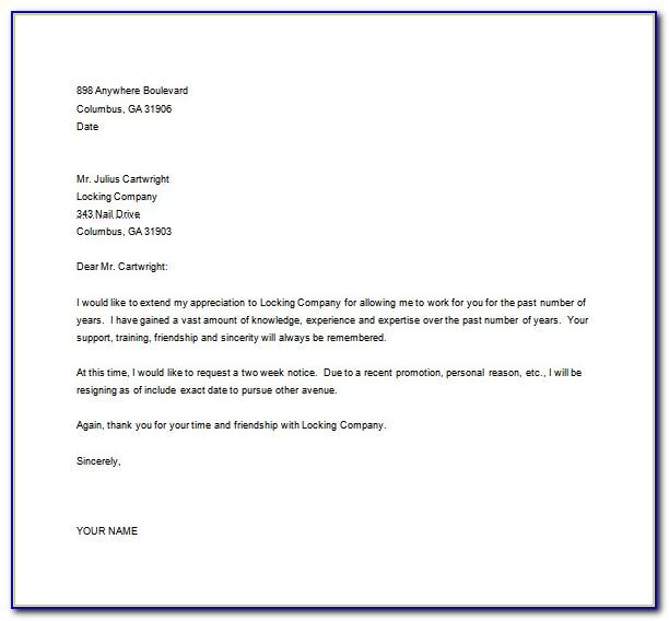 South African Resignation Letter Template