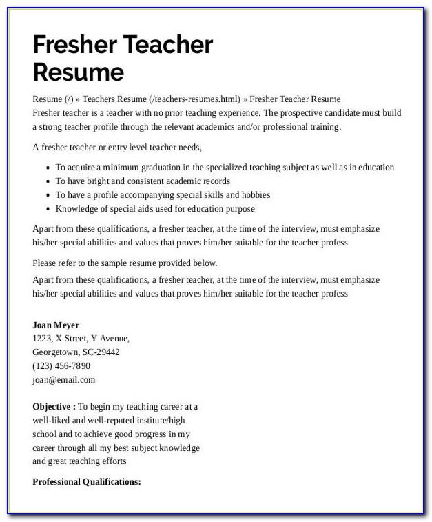 Substitute Teacher Resume Examples No Experience