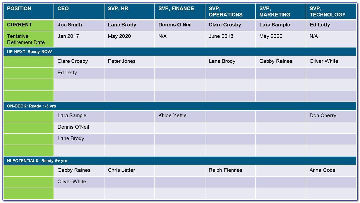 Succession Plan Sample Excel