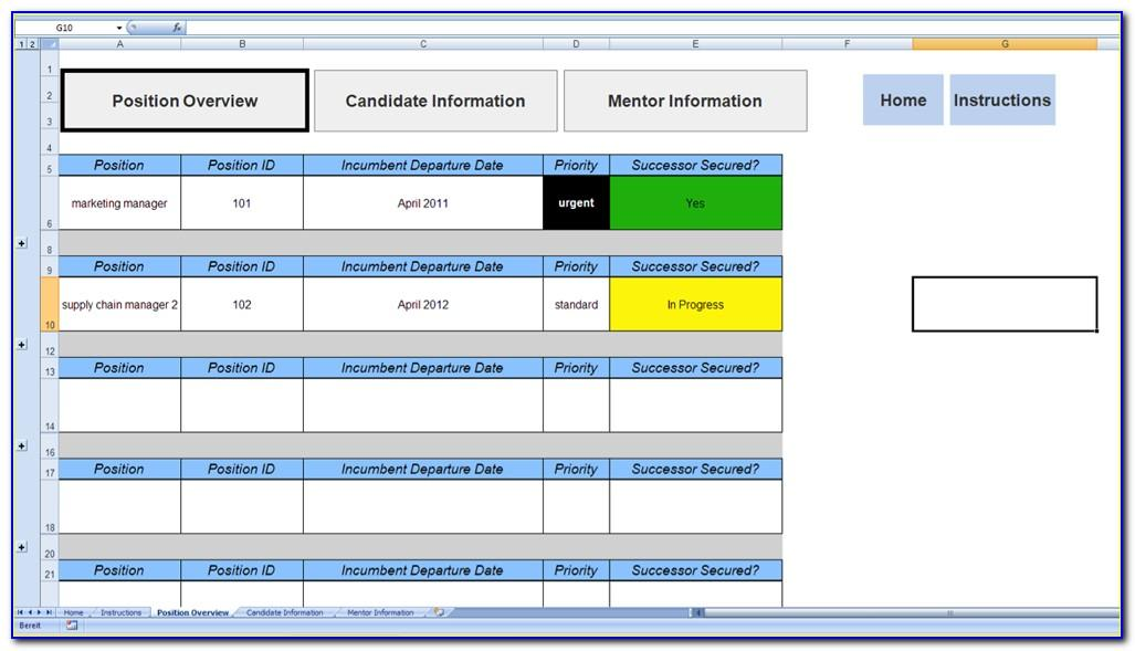 Succession Planning Template Excel